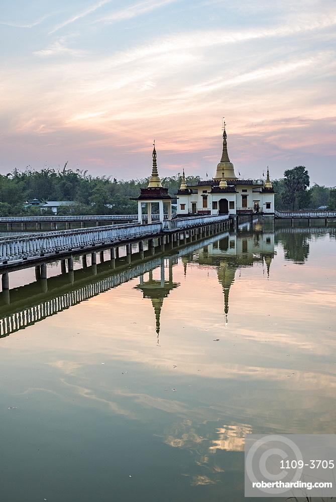 Snake Temple (Mwe Paya) at sunset, Dalah, across the river from Yangon (Rangoon), Myanmar (Burma), Asia