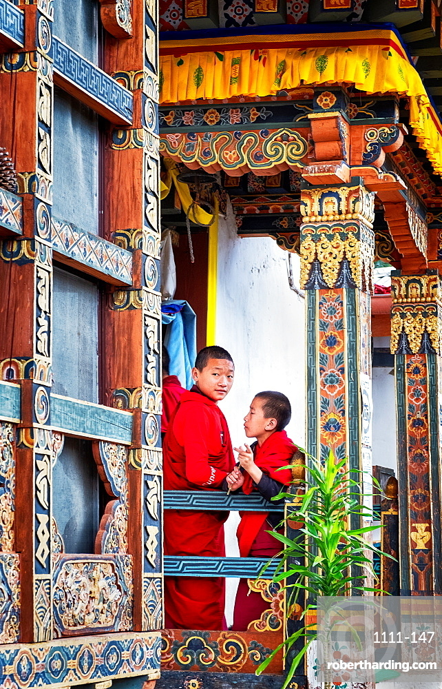 Novice Buddhist monks, Chimi Lhakhang Monastery, also known as the Fertility Temple in Bhutan.