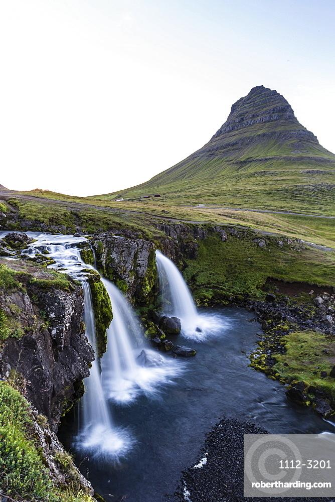 Waterfall near Kirkjufell (Church Mountain), just outside the town of Grundarfjordur on the Snaefellsnes Peninsula, Iceland, Polar Regions
