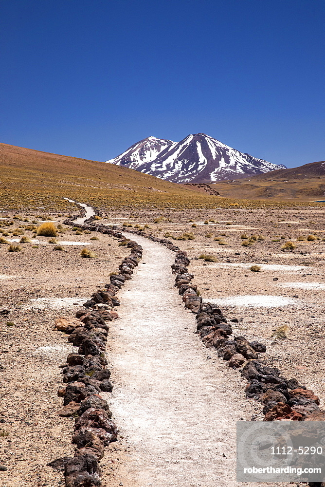 Path to Laguna Miscanti, a brackish lake at an altitude of 4140 meters in the Andean Central Volcanic Zone, Chile, South America