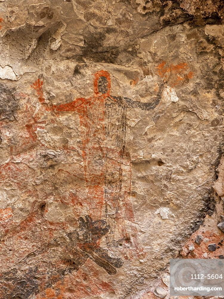 Rock art pictographs of the Cochimi people, Cueva del Raton, UNESCO World Heritage Site, Sierra de San Francisco, Baja California Sur, Mexico, North America