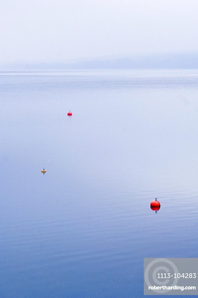 Buoies on Lake Starnberg, Bavaria, Germany