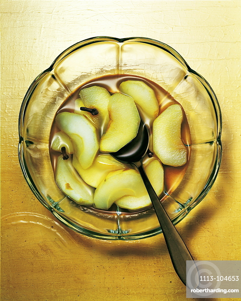 Stewed apples in a bowl with spoon, Fruit, Food