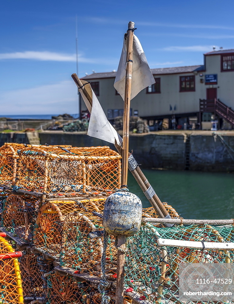 Lobster pots at St. Abbs, a small fishing village on the South-eastern coast of Scotland, St. Abbe, Berwickshire, Scotland