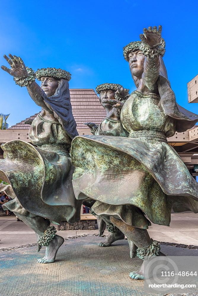 Hula Kahiko women dancer statues greet visitors at, Kona International Airport, Island of Hawaii, U