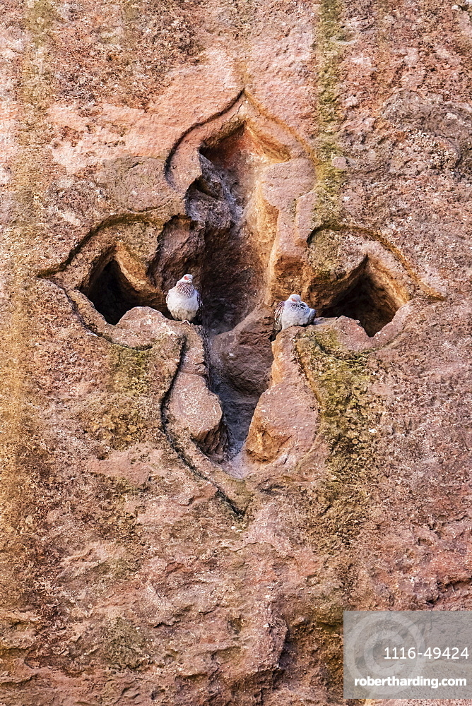 Cruciform window in the Tomb of Adam in the Northern Group of the Rock-Hewn Churches, Lalibela, Amhara Region, Ethiopia