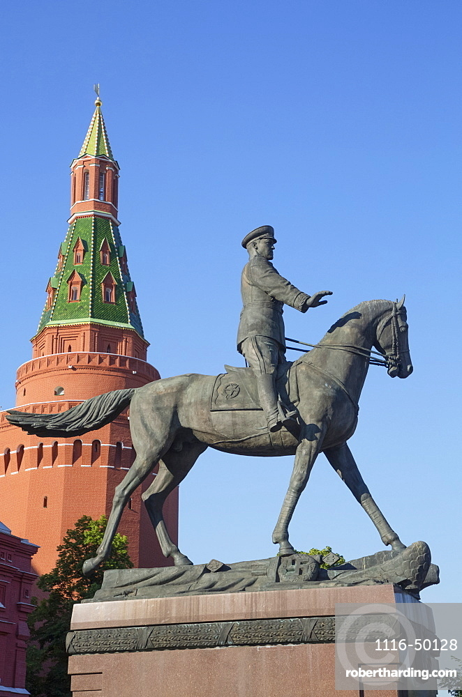 Monument to Marshal Zhukov, equestrian statue and colourful Russian architecture; Moscow, Russia