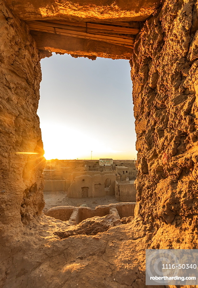 Window in the mudbrick fortress built by the Mamluks; El Khandaq, Northern State, Sudan