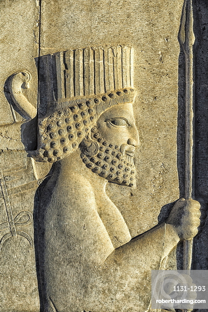 Apadana stairway facade detail, relief of the Achaemenids, Medes and Persians, Persepolis, UNESCO World Heritage Site, Fars Province, Islamic Republic of Iran, Middle East