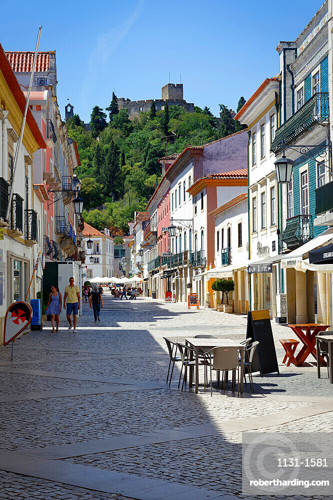 Street in city center, Tomar, Santarem district, Portugal, Europe