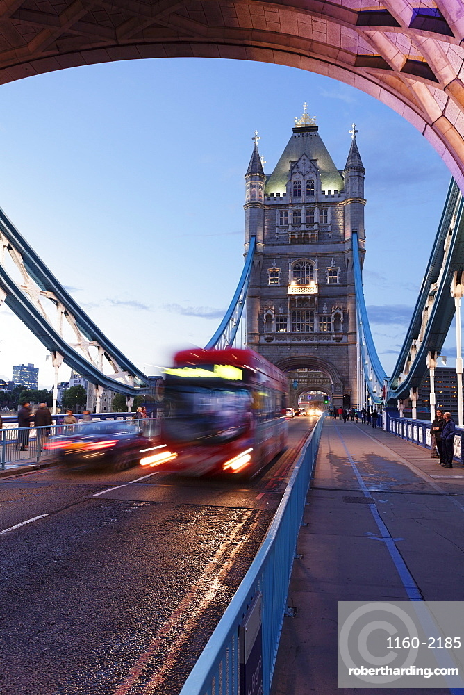 Red bus on Tower Bridge, London, England, United Kingdom, Europe