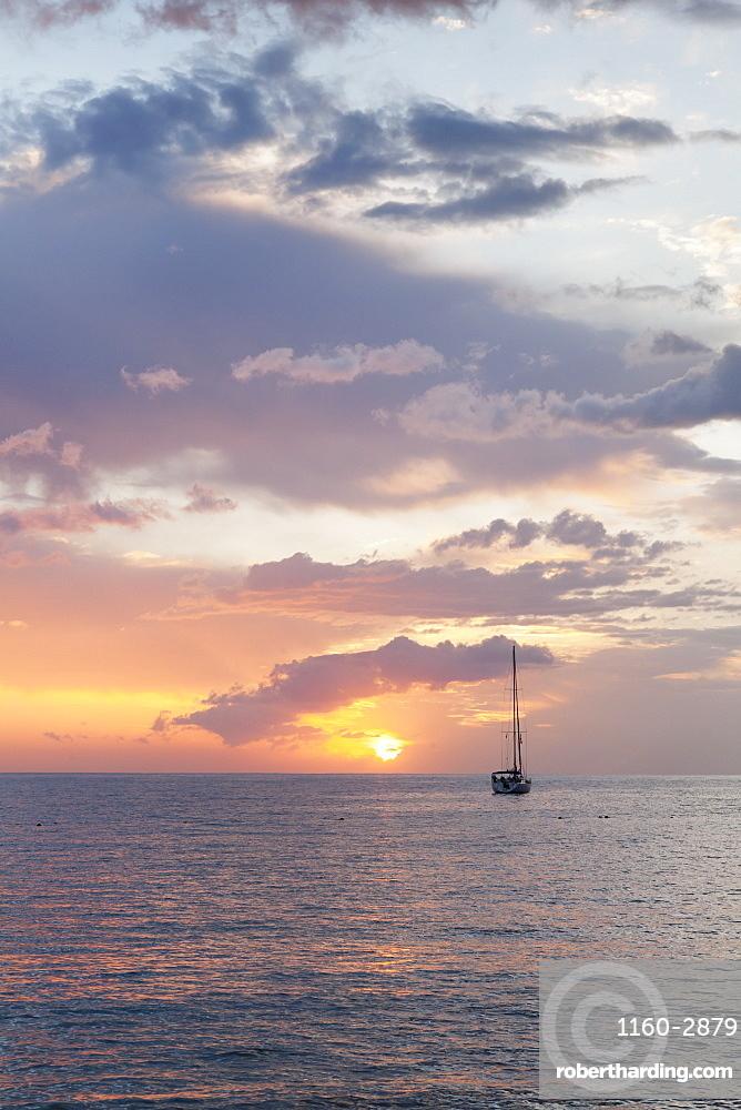 Sailing boat at sunset, Playa de Los Cristianos, Los Cristianos, Tenerife, Canary Islands, Spain, Europe