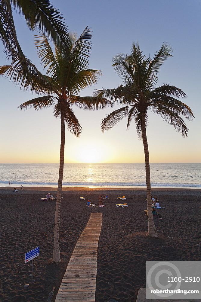Beach of Puerto Naos at sunset, La Palma, Canary Islands, Spain, Atlantic, Europe