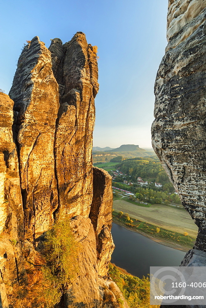 View from Bastei to Lilienstein mountain in Elbe Sandstone Mountains, Germany, Europe