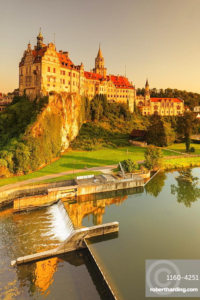 Sigmaringen Castle at sunset, Upper Danube Valley, Swabian Jura, Baden-Wuerttemberg, Germany