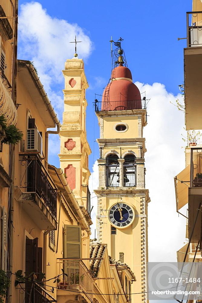 St. Spyridion Church Bell Tower, Old Town, Corfu Town, UNESCO World Heritage Site, Corfu, Ionian Islands, Greek Islands, Greece, Europe