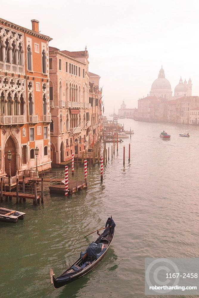 Beautiful Grand Canal, winter fog, gondola, Basilica Santa Maria della Salute, Venice, UNESCO World Heritage Site, Veneto, Italy, Europe