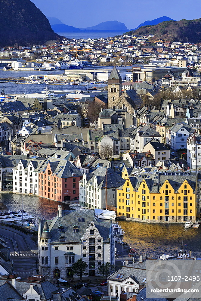 View from Aksla hill over beautiful Alesund, colourful Art Nouveau buildings, Winter, More og Romsdal, Norway, Scandinavia