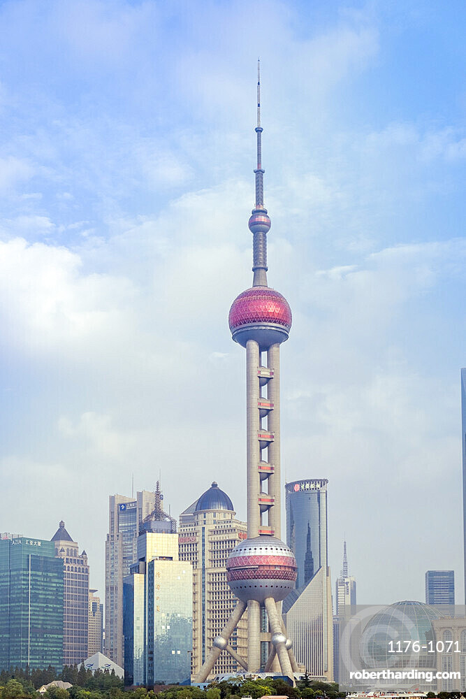 The Oriental Pearl TV Tower in Pudong district in Shanghai, China, Asia