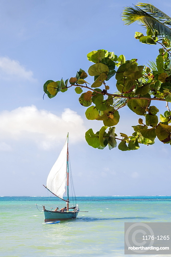 Americas, Central America, Nicaragua. A traditional Caribbean wooden fishing sailboat in calm tropical sea