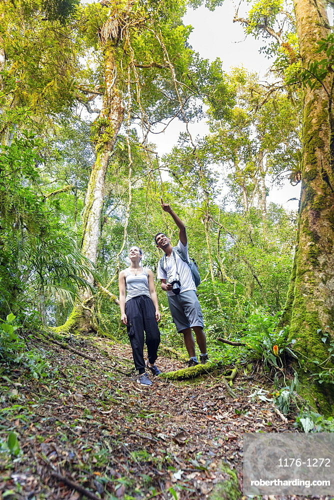 A hiker and a guide watching for animals on a rainforest safari