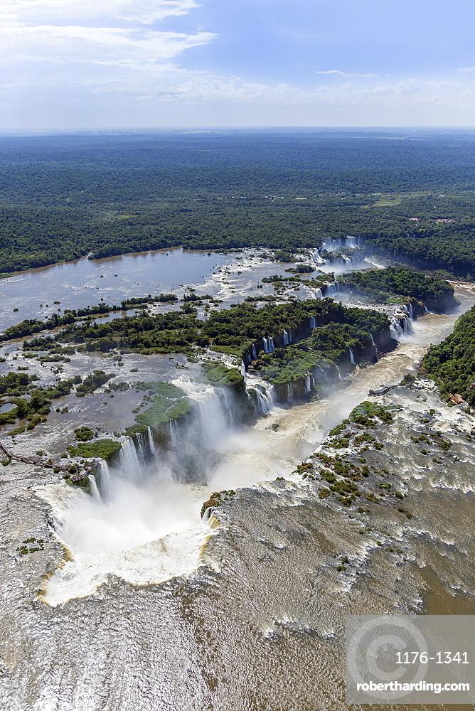 Aerial view of the Devil's Throat and the Iguassu River, Iguazu Falls, UNESCO World Heritage Site, Parana, Brazil, South America