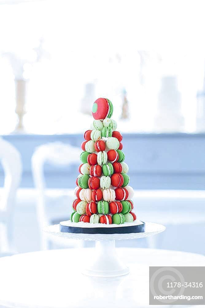 Holiday macaroon cake on table