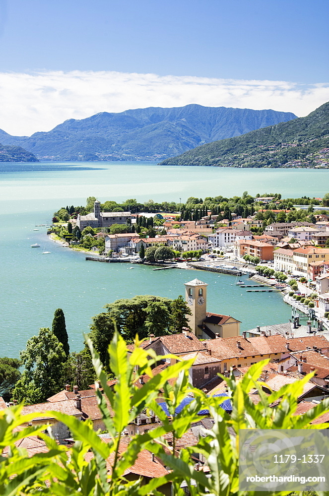 View of the typical village of Gravedona surrounded by Lake Como and gardens, Province of Como, Italian Lakes, Lombardy, Italy, Europe