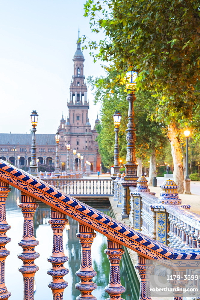 Details of decorated ceramic pillars of balustrade in typical Art Deco style, Plaza de Espana, Seville, Andalusia, Spain, Europe