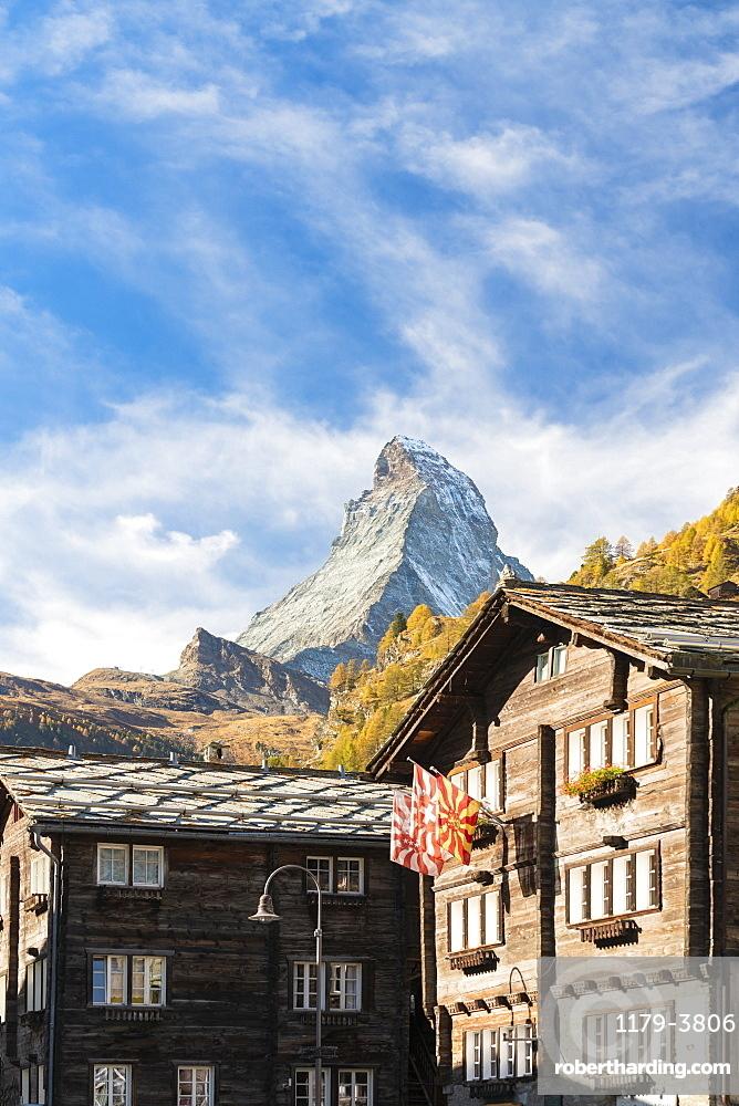 Wooden houses below Matterhorn in Zermatt, Switzerland, Europe