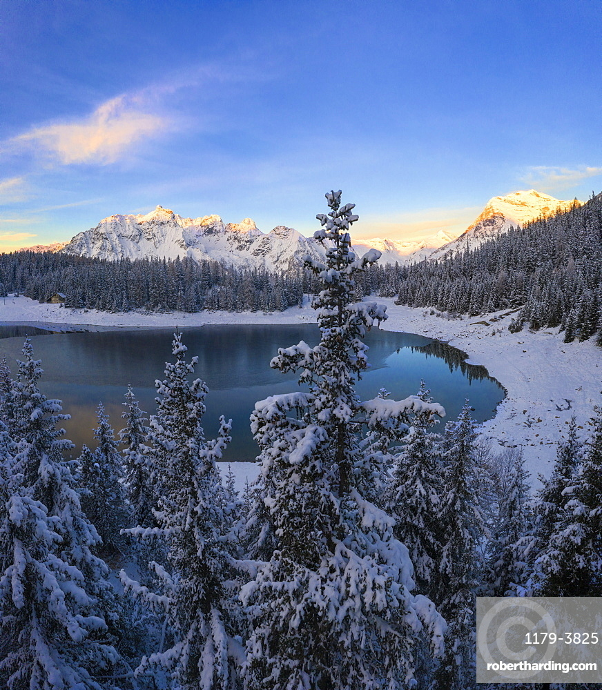 Lake Palu during winter in Malenco Valley, Italy, Europe