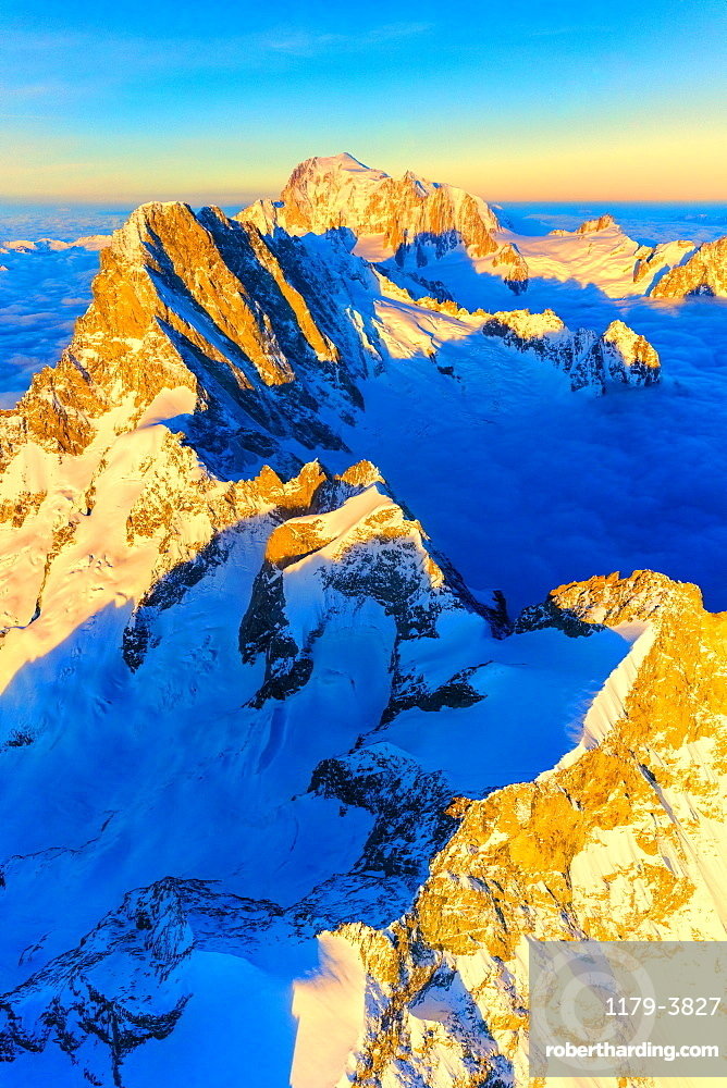 Aerial view of Grandes Jorasses, Petites Jorasses, Aiguille De Leschaux and Mont Blanc at dawn, Courmayeur, Aosta Valley, Italy, Europe