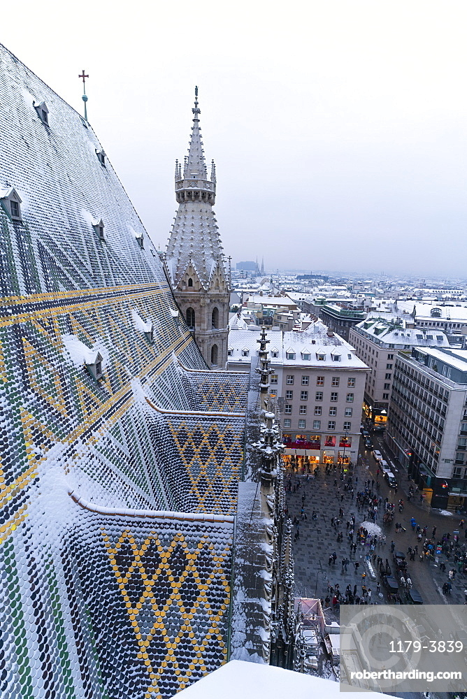 Roofs of the city center seen from the north tower of St. Stephen's Cathedral (Stephansdom), Vienna, Austria, Europe