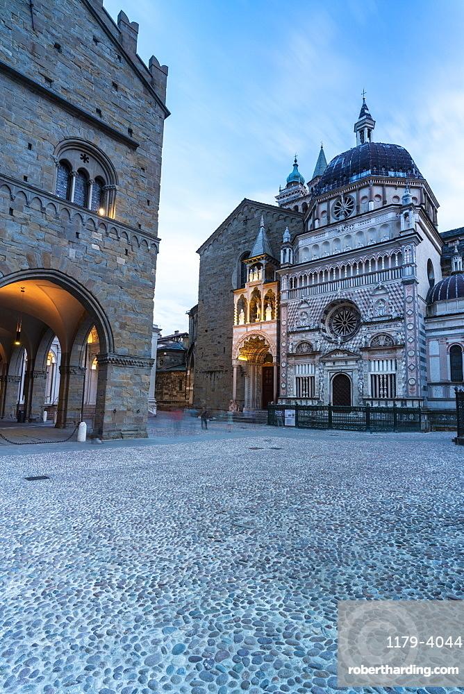 Colleoni Chapel and Basilica Santa Maria Maggiore, Piazza del Duomo square, Città Alta (Upper Town), Bergamo, Lombardy, Italy