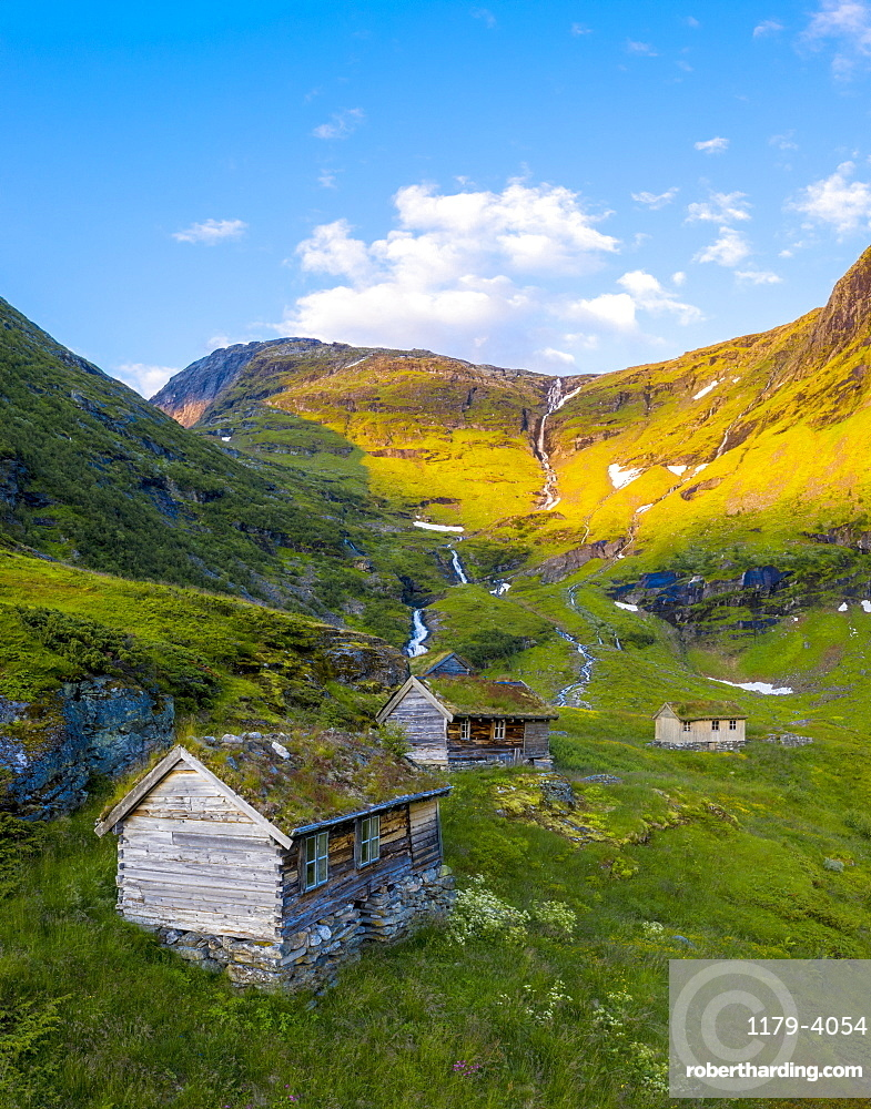 Aerial panoramic of Dalsnibba mountain and traditional wood huts, Stranda municipality, More og Romsdal county, Norway