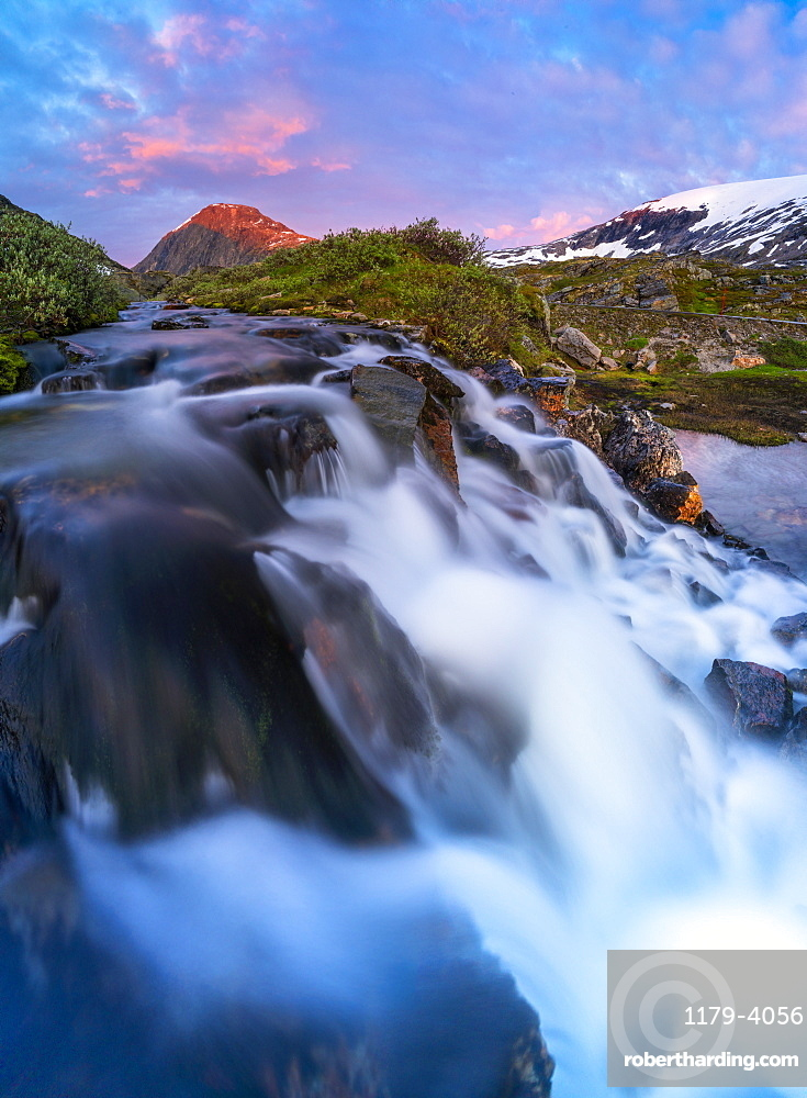 Waterfall jumping down from Blafjellelva plateau in Dalsnibba mountain area, Stranda municipality, More og Romsdal, Norway