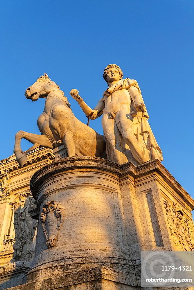 One of the Dioscuri Statue at Campidoglio (Capitoline Hill), Rome, Lazio, Italy, Europe