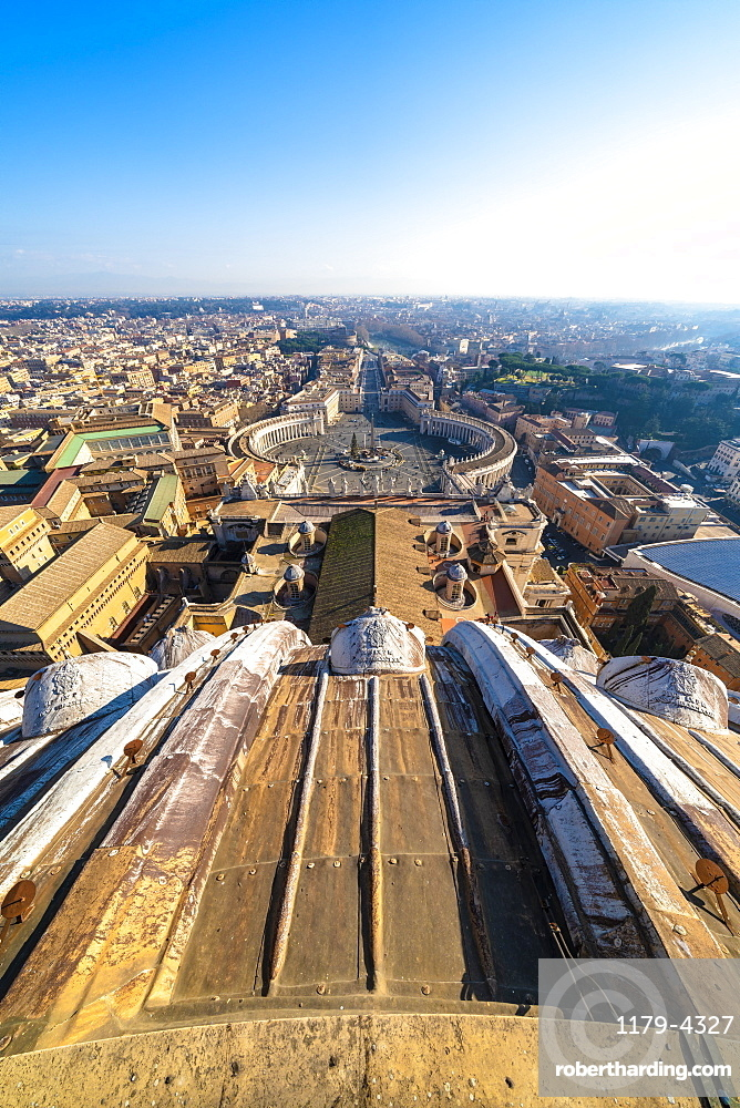 St. Peter's Square and skyline from top of dome of St. Peter's Basilica (Basilica di San Pietro), Vatican City, UNESCO World Heritage Site, Rome, Lazio, Italy, Europe
