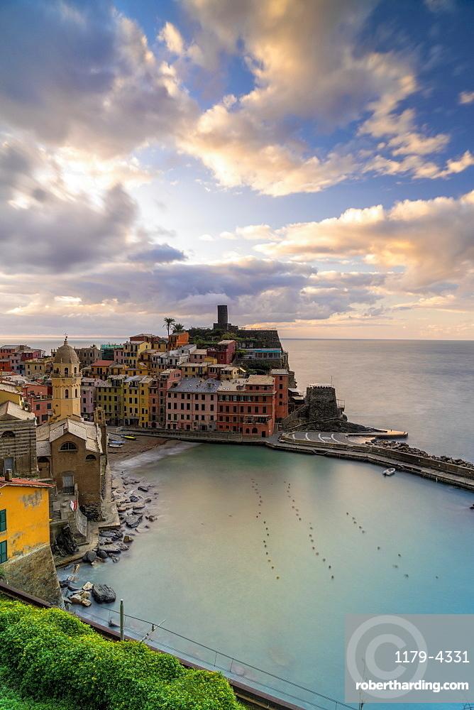 Colorful village of Vernazza at sunrise, Cinque Terre, La Spezia province, Liguria, Italy