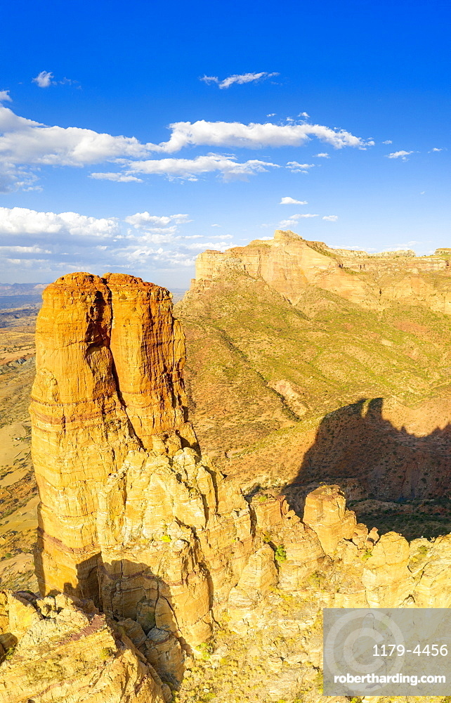 Aerial panoramic of tall rock towers of Gheralta Mountains, Hawzen, Tigray Region, Ethiopia, Africa (drone)