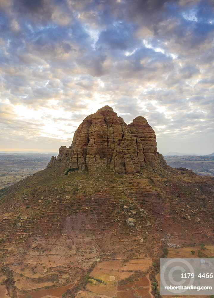 Clouds at sunset over the tall rocks of Gheralta Mountains, aerial view, Hawzen, Tigray Region, Ethiopia, Africa (drone)