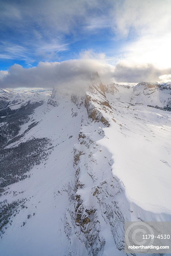 Seceda and Odle mountain range in winter, aerial view, Val Gardena, Dolomites, Trentino-Alto Adige, Italy