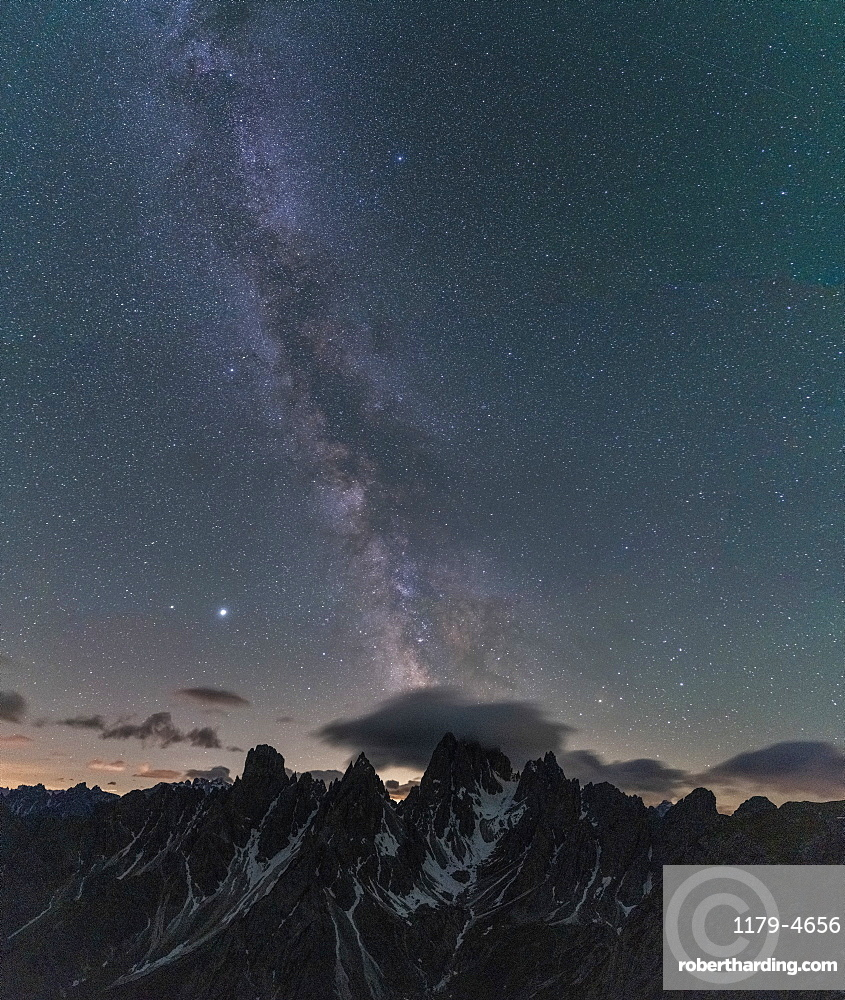 Milky Way over Cadini di Misurina mountain group, Dolomites, Belluno province, Veneto, Italy, Europe