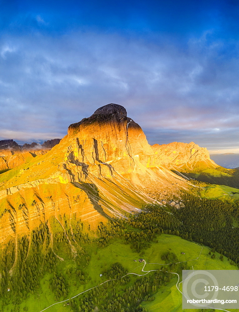 Aerial view of Sass De Putia (Peitlerkofel) at dawn in summer, Passo Delle Erbe, Puez-Odle, Dolomites, South Tyrol, Italy