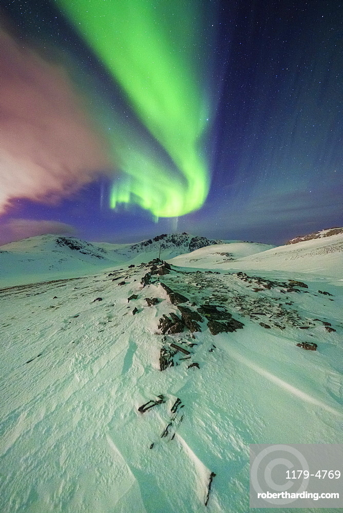 Surreal shapes of the Northern Lights (Aurora Borealis) in the Arctic night, Skarsvag, Nordkapp, Troms og Finnmark, Norway, Scandinavia, Europe