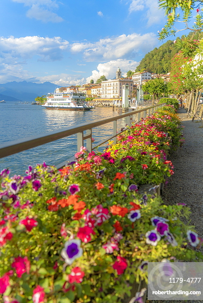 Flowers along the famous promenade surrounding Bellagio and Lake Como at sunset, Como province, Lombardy, Italy