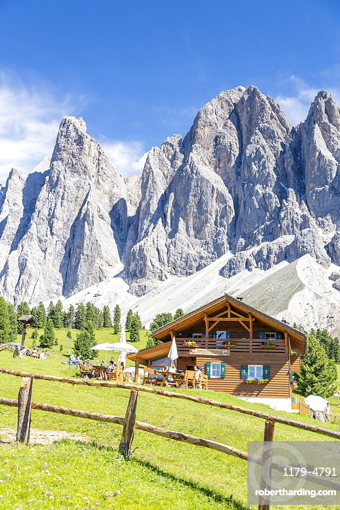 Malga Casnago (Gschnagenhardt) hut with the Odle on background, Val di Funes, South Tyrol, Dolomites, Italy
