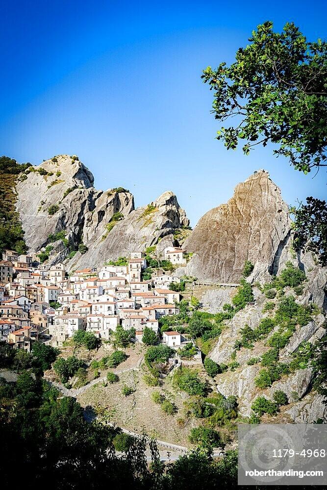 Medieval town of Castelmezzano at feet of Dolomiti Lucane mountains, Potenza province, Basilicata, Italy