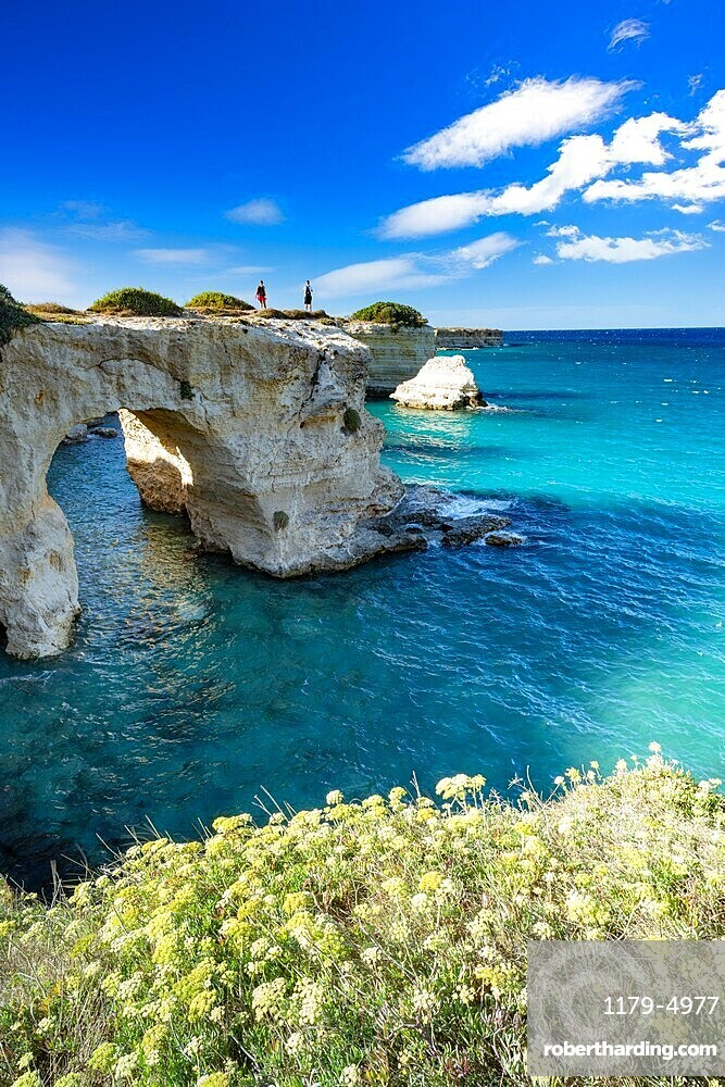 Tourists admiring the sea from natural stone arch on cliff, Torre Sant'Andrea, Lecce province, Salento, Apulia, Italy, Europe