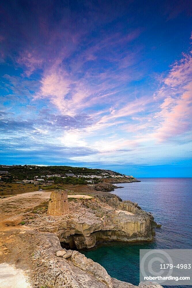 Coastal tower Torre Miggiano at sunset in summer, Santa Cesarea Terme, Porto Miggiano, Lecce province, Salento, Apulia, Italy, Europe